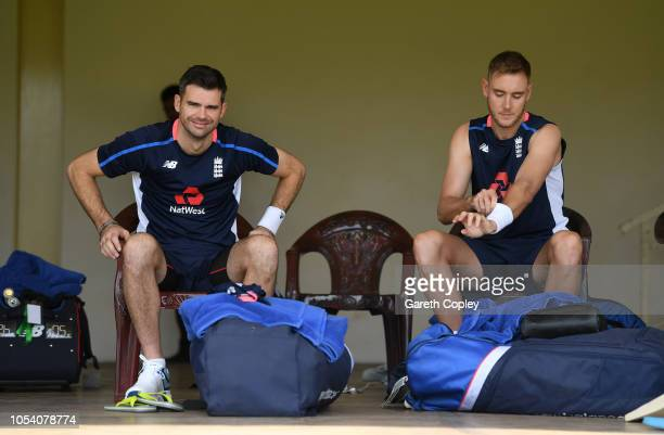 James Anderson and Stuart Broad of England sit in the dressing room during a nets session at P Sara Oval on October 27 2018 in Colombo