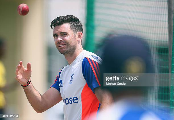 James Anderson during the England nets session at the Sir Vivian Richards Stadium on April 11 2015 in Antigua Antigua and Barbuda
