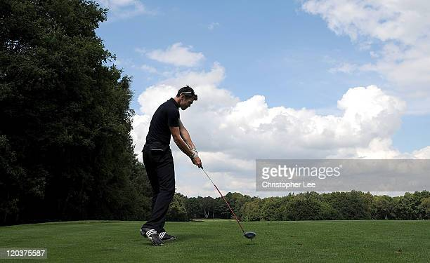 James Anderson in action at the FitFlop Shooting Stars Benefit hosted by Samuel L Jackson raising vital funds for MakeAWish Foundation UK at...