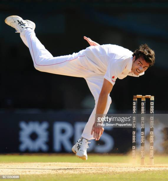 James Anderson loses his balance while bowling for England during the 1st Test match between India and England at MA Chidambaram Stadium Chennai...