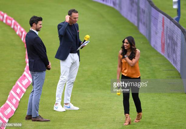 James Anderson Michael Vaughan and Isa Guha share a joke whilst broadcasting for the BBC who televise their first live match in 21 years prior to the...