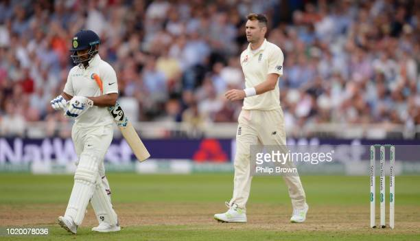 James Anderson of England after dismissing Rishabh Pant during the third day of the 3rd Specsavers Test Match between England and India at Trent...