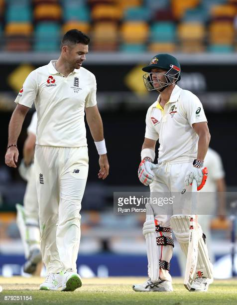 James Anderson of England and David Warner of Australia have words during day four of the First Test Match of the 2017/18 Ashes Series between...