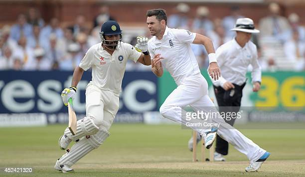 James Anderson of England and Ravindra Jadeja of India get close during day four of 2nd Investec Test match between England and India at Lord's...