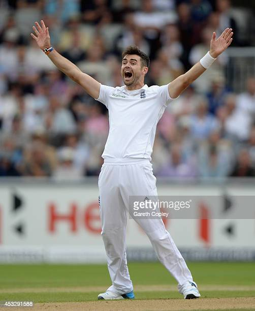James Anderson of England appeals during day one of 4th Investec Test match between England and India at Old Trafford on August 7 2014 in Manchester...