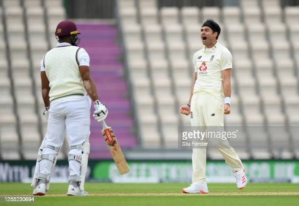 James Anderson of England appeals during day two of the 1st #RaiseTheBat Test match at The Ageas Bowl on July 09 2020 in Southampton England