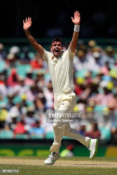James Anderson of England appeals for lbw during day four of the Fifth Test match in the 2017/18 Ashes Series between Australia and England at Sydney...