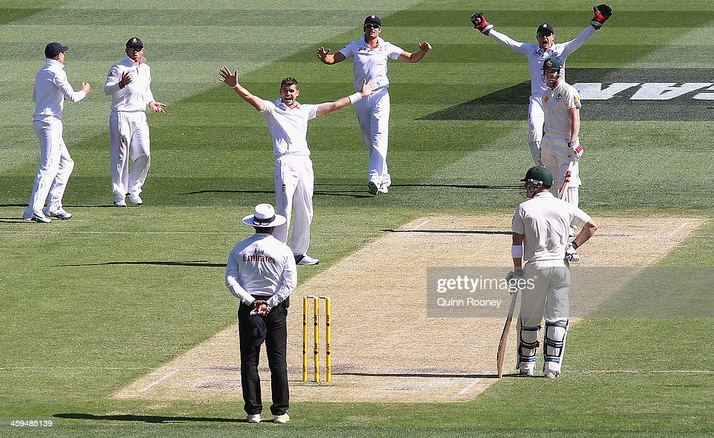 James Anderson of England appeals for the wicket of George Bailey of Australia during day two of the Fourth Ashes Test Match between Australia and England at Melbourne Cricket Ground on December 27, 2013 in Melbourne, Australia.