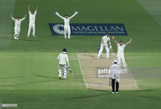 James Anderson of England appeals for the wicket of Steve Smith of Australia during day three of the Second Test match during the 2017/18 Ashes...