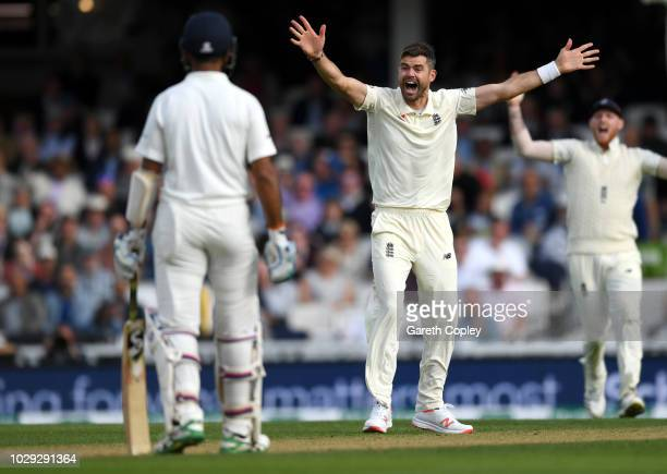 James Anderson of England appeals unsuccessfully for the wicket of India captain Virat Kohli during day two of the Specsavers 5th Test match between...