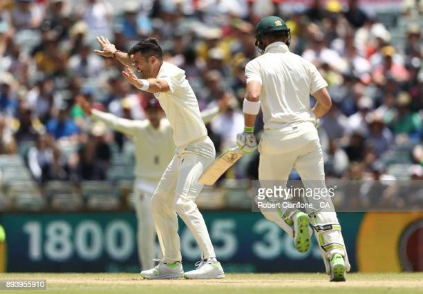 James Anderson of England appeals unsuccessfully for the wicket of Tim Paine of Australia during day four of the Third Test match during the 2017/18...