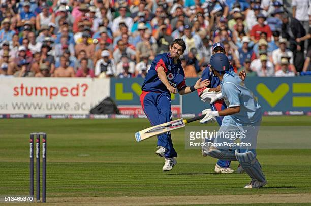 James Anderson of England attempts to run out Sourav Ganguly of India during the NatWest Series One Day International between England and India at...