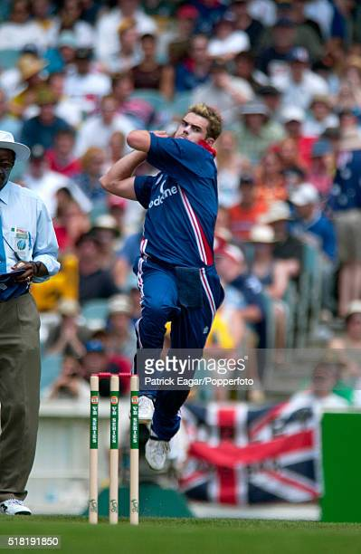 James Anderson of England bowling during the VB Series One Day International between Australia and England at Melbourne Australia 15th December 2002
