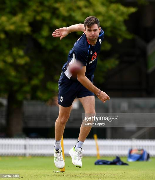 James Anderson of England bowls during a nets session at Lord's Cricket Ground on September 5 2017 in London England