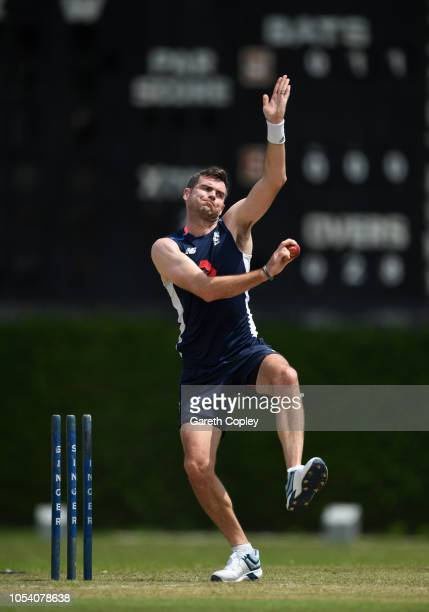 James Anderson of England bowls during a nets session at P Sara Oval on October 27 2018 in Colombo