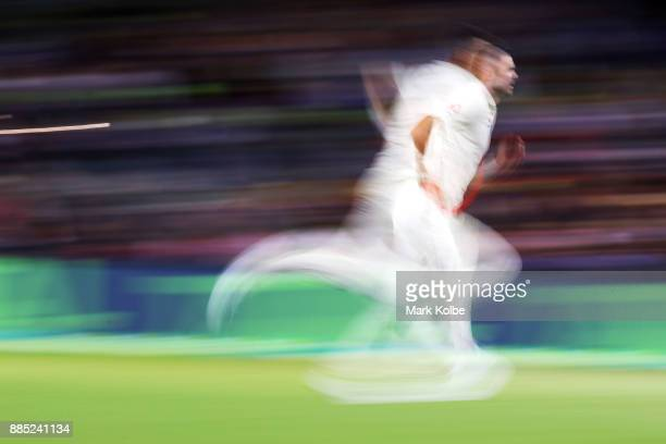 James Anderson of England bowls during day three of the Second Test match during the 2017/18 Ashes Series between Australia and England at Adelaide...