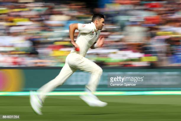 James Anderson of England bowls during day two of the Second Test match during the 2017/18 Ashes Series between Australia and England at Adelaide...