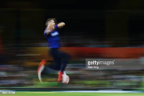 James Anderson of England bowls during the ICC Cricket World Cup warm up match between England and Pakistan at Sydney Cricket Ground on February 11...