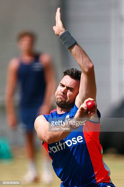 James Anderson of England bowls in the nets during England media access at Newlands on January 1 2016 in Cape Town South Africa