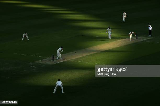James Anderson of England bowls to Steve Smith of Australia during day two of the First Test Match of the 2017/18 Ashes Series between Australia and...