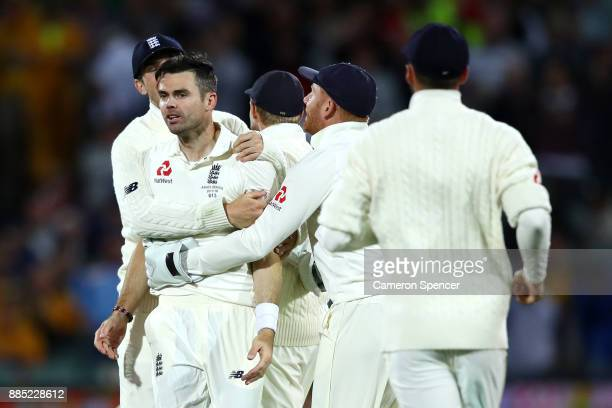 James Anderson of England celebrates a successful lbw appeal to dismiss Steve Smith of Australia during day three of the Second Test match during the...