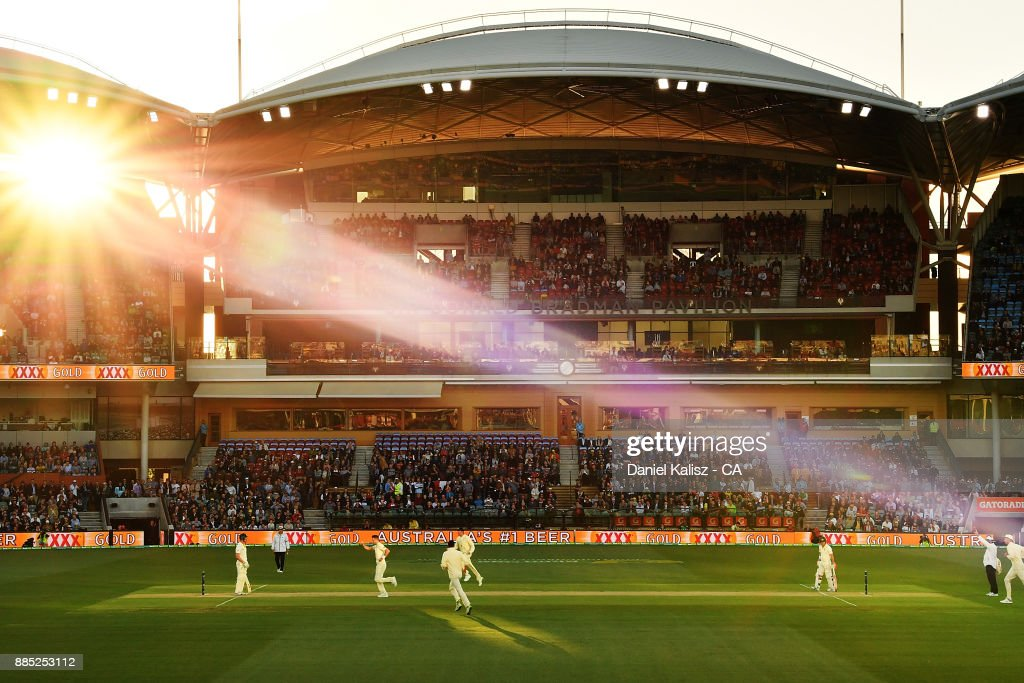 James Anderson of England celebrates after dismissing Cameron Bancroft of Australia during day three of the Second Test match during the 2017/18 Ashes Series between Australia and England at Adelaide Oval on December 4, 2017 in Adelaide, Australia.