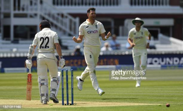 James Anderson of England celebrates after dismissing Kane Williamson of New Zealand during day 1 of the First LV= Insurance Test match against New...