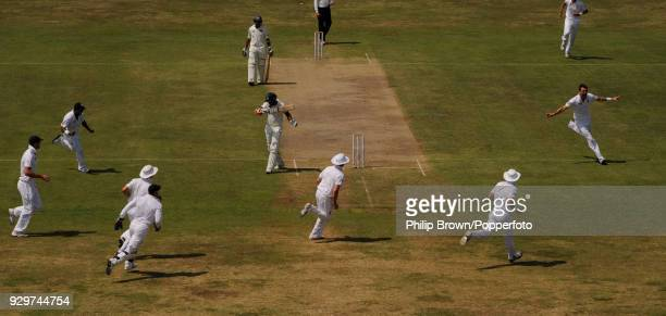 James Anderson of England celebrates after dismissing Kumar Sangakkara of Sri Lanka caught by England wicketkeeper Matt Prior for 0 during the 1st...