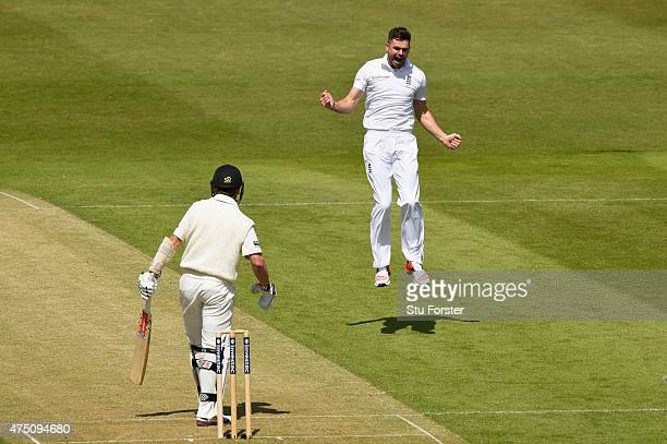 James Anderson of England celebrates after dismissing New Zealand batsman Kane Williamson to claim his 401st test match wicket during day one of the...