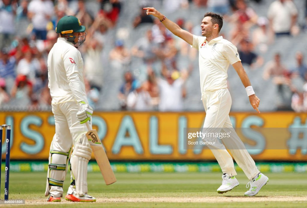 James Anderson of England celebrates after dismissing Usman Khawaja of Australia during day four of the Fourth Test Match in the 2017/18 Ashes series between Australia and England at Melbourne Cricket Ground on December 29, 2017 in Melbourne, Australia.