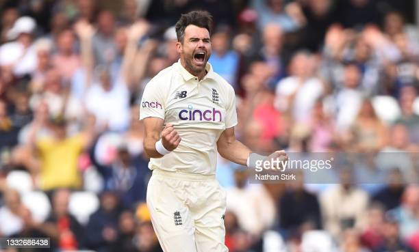 James Anderson of England celebrates after getting KL Rahul of India out during day three of the First Test Match between England and India at Trent...
