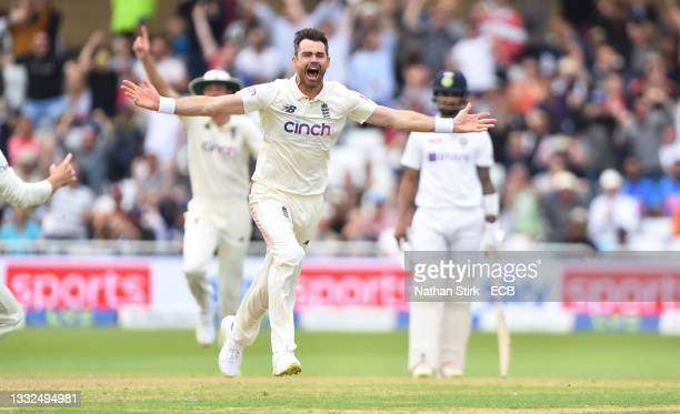 James Anderson of England celebrates after getting Virat Kohli of India out during day two of the First Test Match between England and India at Trent...