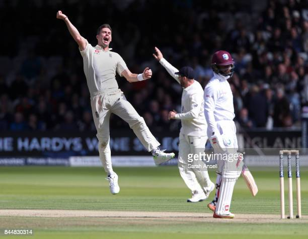 James Anderson of England celebrates after taking his fifth wicket of the West Indies second innings during day three of the 3rd Investec Test match...