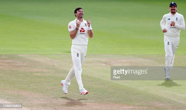 James Anderson of England celebrates after taking the wicket of Azhar Ali of Pakistan to reach 600 Test Match Wickets during Day Five of the 3rd...