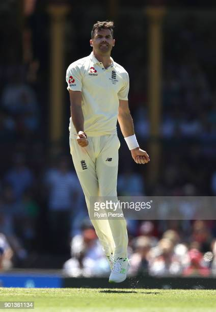 James Anderson of England celebrates after taking the wicket of David Warner of Australia during day two of the Fifth Test match in the 2017/18 Ashes...