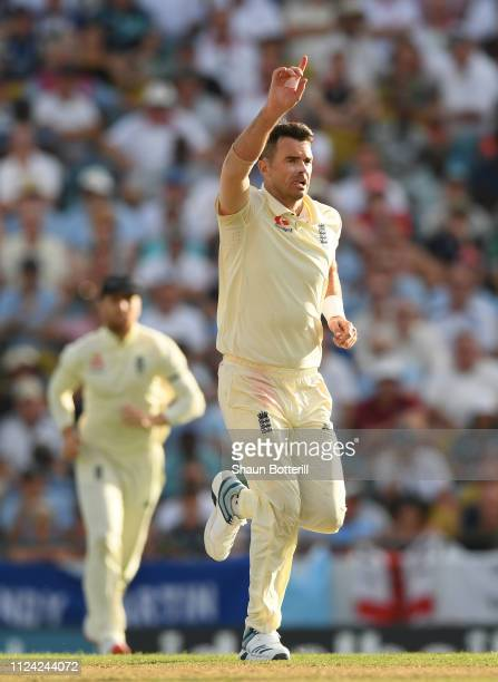 James Anderson of England celebrates after taking the wicket of Roston Chase of West Indies during Day One of the First Test match between England...