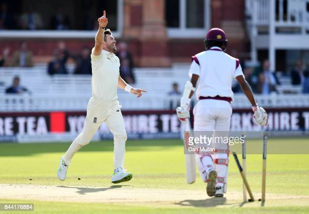 James Anderson of England celebrates after taking the wicket of Kraigg Braithwaite of the West Indies his 500th test wicket during day two of the 3rd...