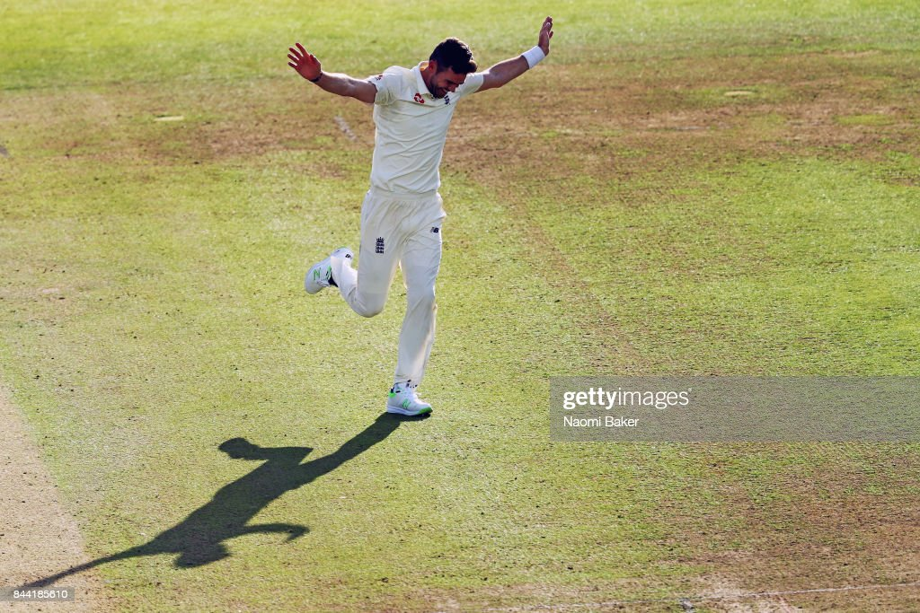 James Anderson of England celebrates after taking the wicket of Kraigg Braithwaite of the West Indies, his 500th test wicket during during England v West Indies - 3rd Investec Test: Day Two at Lord's Cricket Ground on September 8, 2017 in London, England.