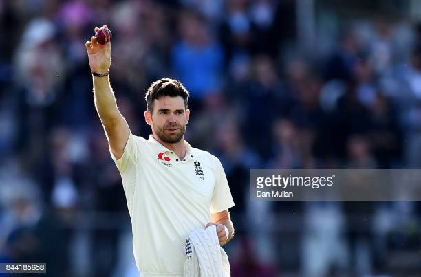 James Anderson of England celebrates after taking the wicket of Kraigg Braithwaite of the West Indies, his 500th test wicket during day two of the...