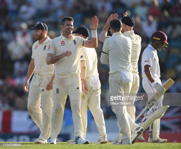James Anderson of England celebrates after taking the wicket of Shane Dowrich of West Indies during Day One of the First Test match between England...