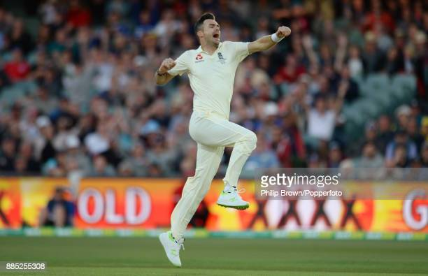 James Anderson of England celebrates after the dismissal of Cameron Bancroft during the third day of the second Ashes cricket test match between...