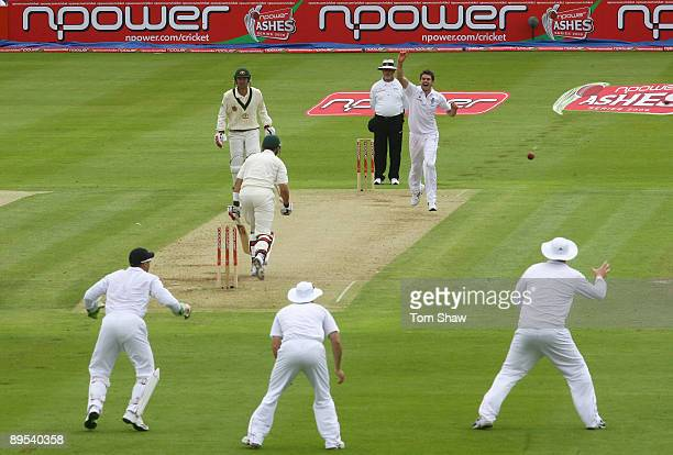 James Anderson of England celebrates bowling Graham Manou of Australia during day two of the npower 3rd Ashes Test Match between England and...