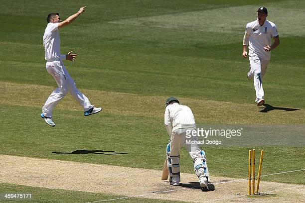 James Anderson of England celebrates bowling Michael Clarke of Australia during day two of the Fourth Ashes Test Match between Australia and England...
