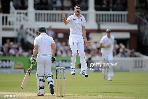 James Anderson of England celebrates dismissing AB de Villiers of South Africa during day one of 3rd Investec Test match between England and South...