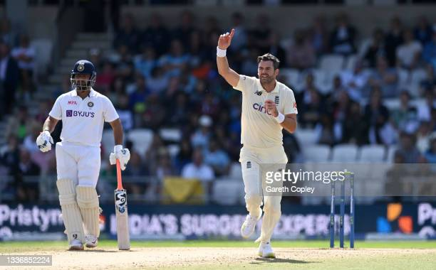 James Anderson of England celebrates dismissing Ajinkya Rahane of India during day four of the Third LV= Insurance Test Match between England and...