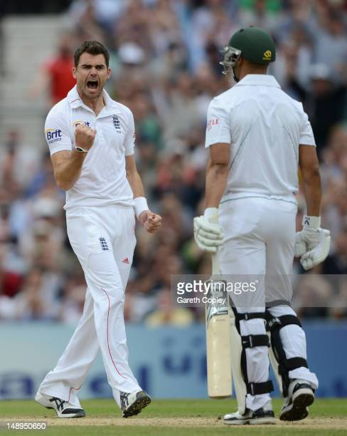James Anderson of England celebrates dismissing Alviro Petersen of South Africa during day two of the 1st Investec Test match between England and...
