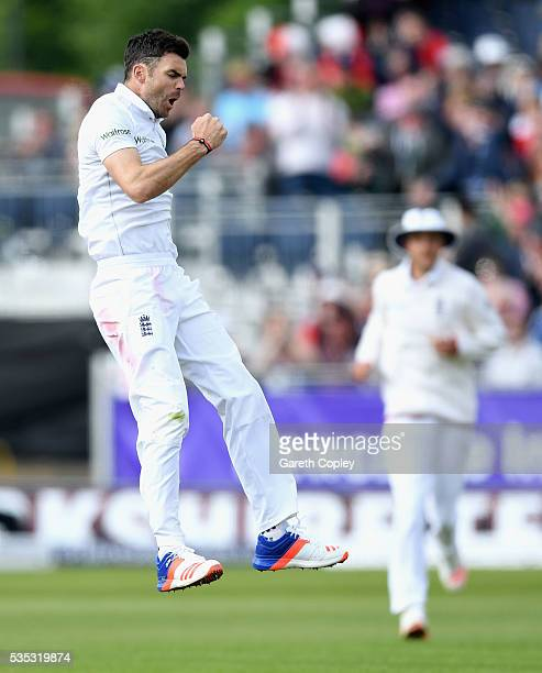 James Anderson of England celebrates dismissing Angelo Mathews of Sri Lanka during day three of the 2nd Investec Test match between England and Sri...