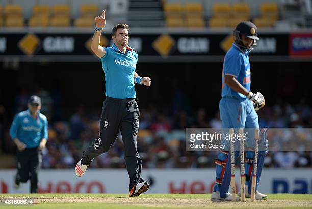 James Anderson of England celebrates dismissing Bhuvneshwar Kumar of India during the One Day International match between England and India at The...