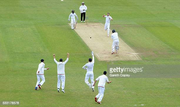 James Anderson of England celebrates dismissing Dimuth Karunaratne of Sri Lanka during day three of the 1st Investec Test match at Headingley on May...