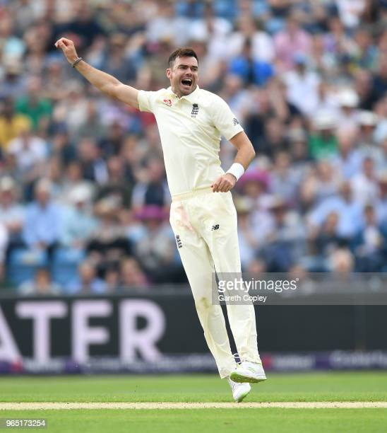 James Anderson of England celebrates dismissing Faheem Ashraf of Pakistan during the 2nd NatWest Test match between England and Pakistan at...